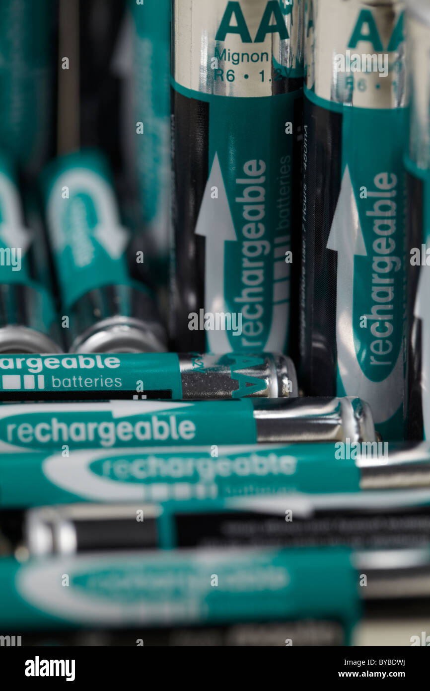 A set of rechargeable batteries sizes AA and AAA. - Stock Image
