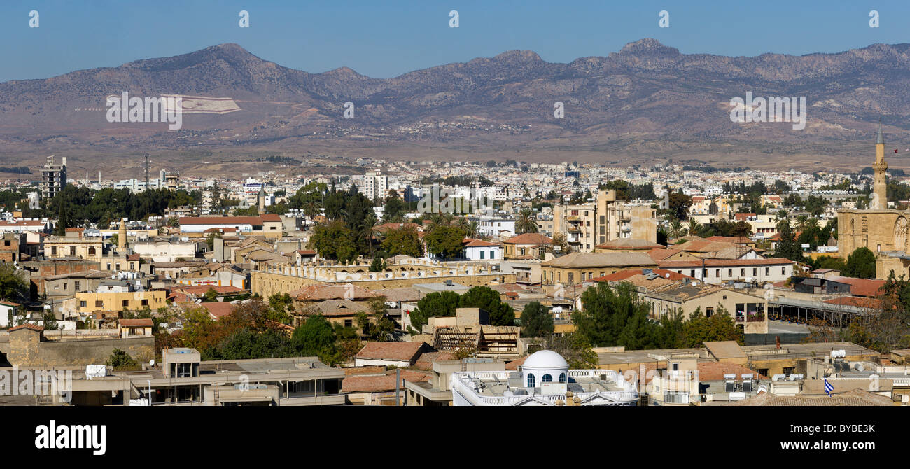 View over North Nicosia, also Lefkosa or Lefkosia, the capital of Northern Cyprus, Turkish Cyprus, South Eastern - Stock Image