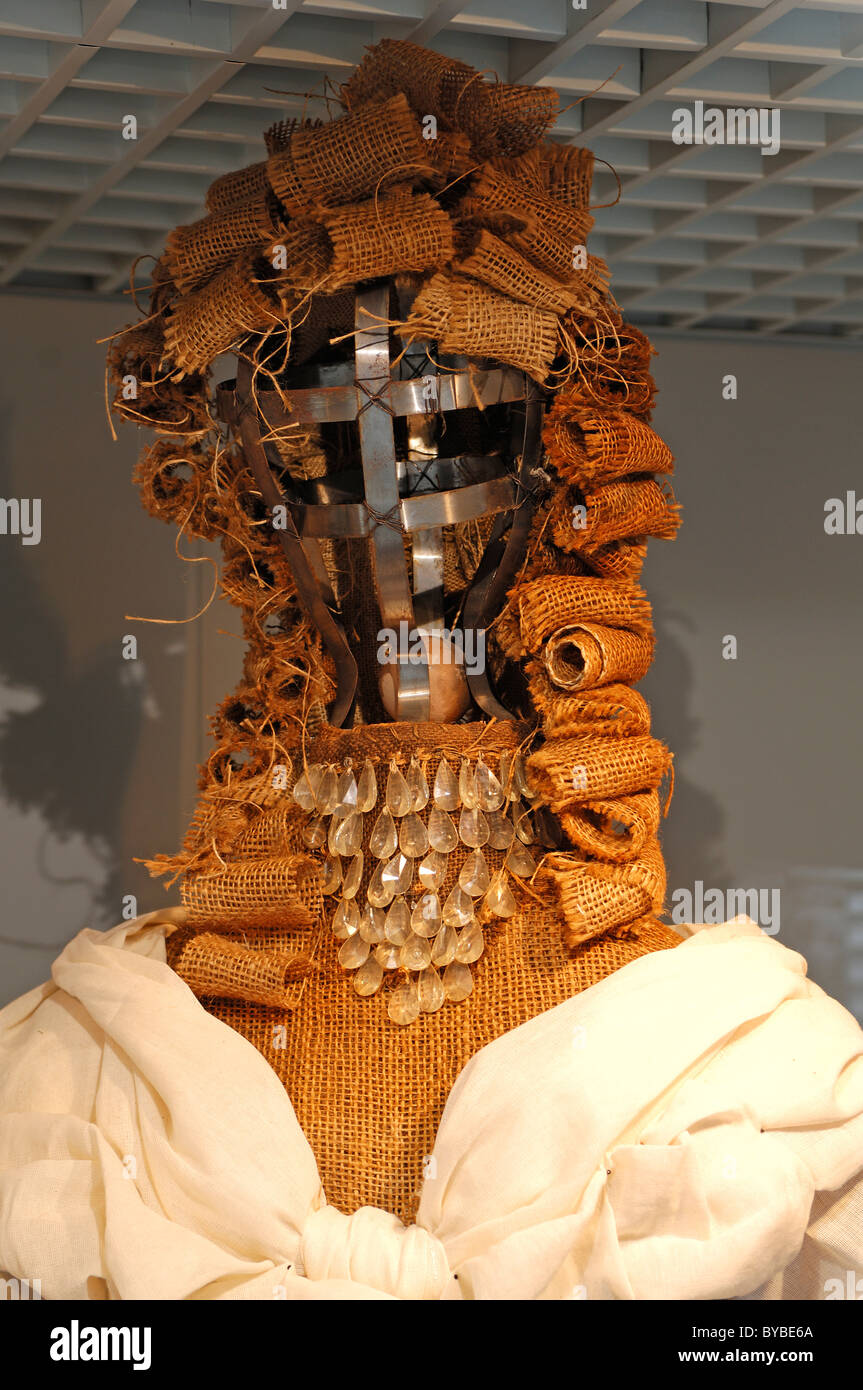 Mannequin creatively decorated with metal and canvas in a clothing store, Ulm, Baden-Wuerttemberg, Germany, Europe - Stock Image
