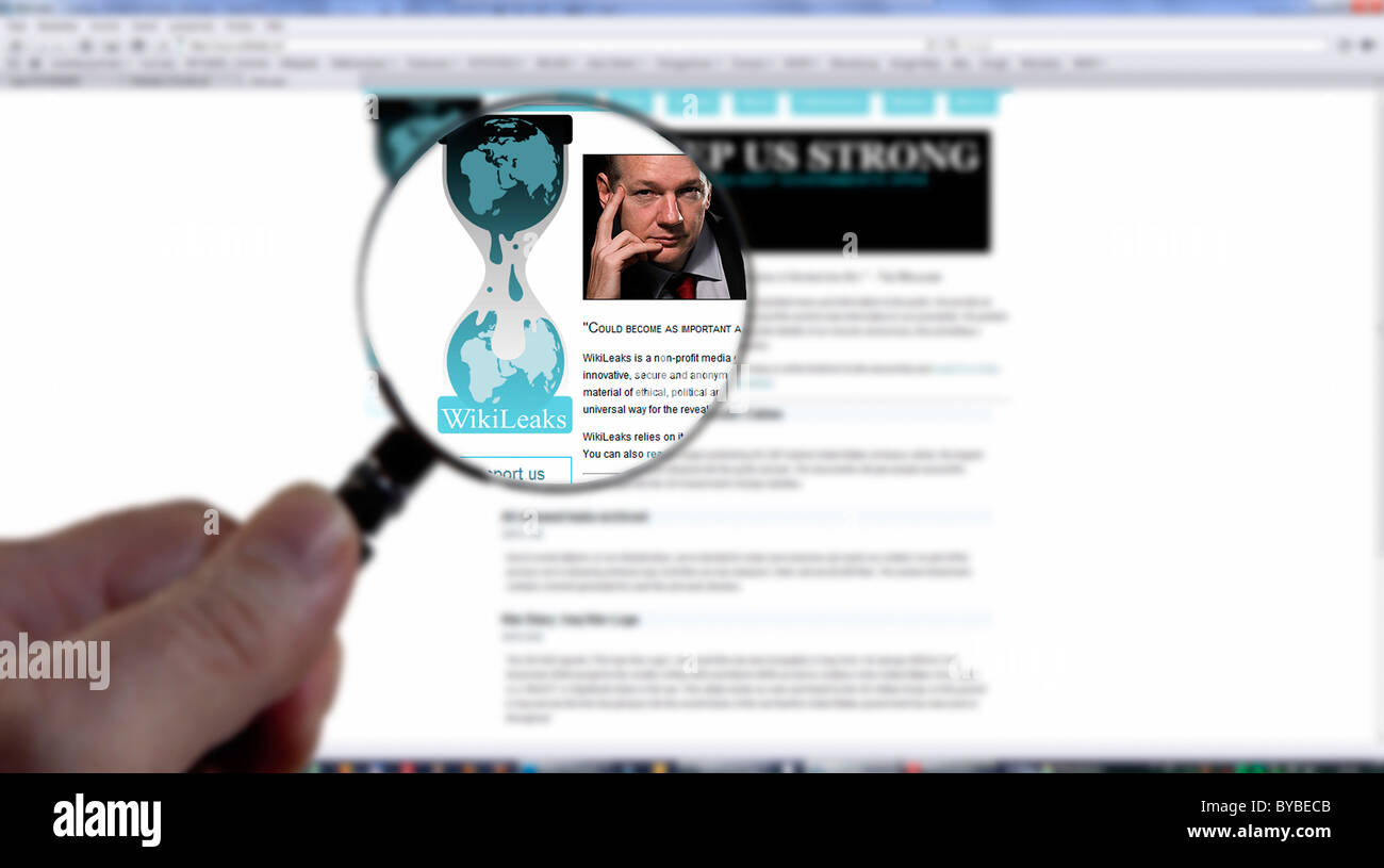 Search for documents or cables on Wikileaks - Stock Image