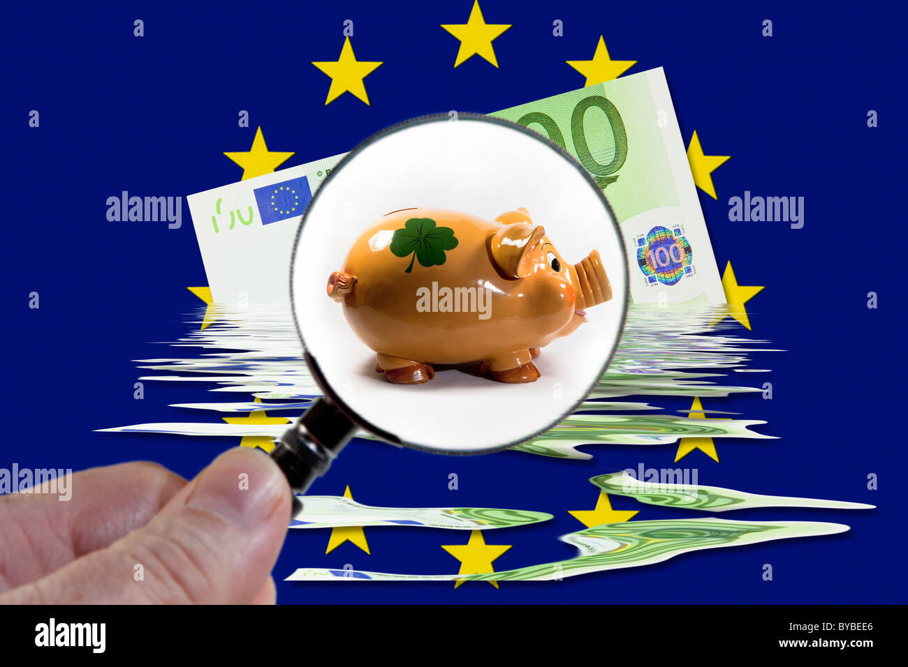 Symbolic image for money saving in the European Union - Stock Image