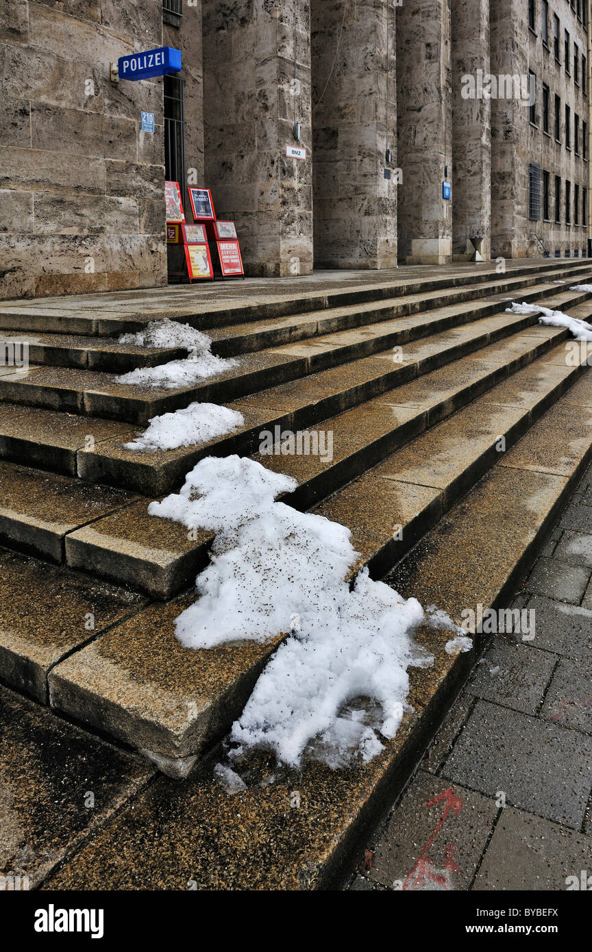 Stone staircase with patches of snow, Harlaching, Munich, Germany, Europe Stock Photo