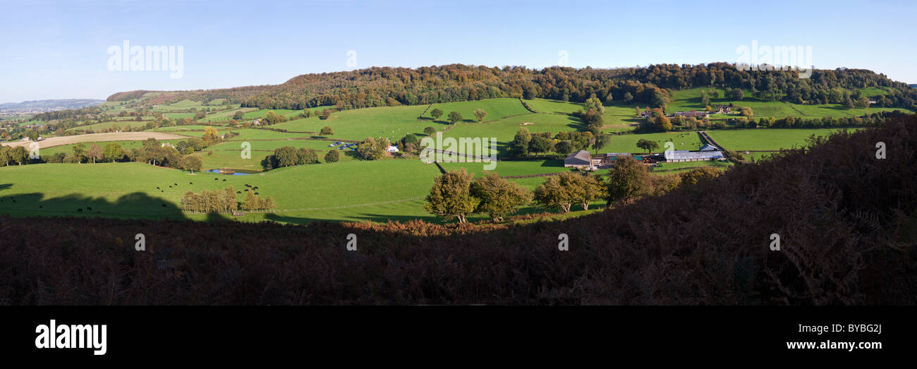 A panoramic view of the Cotswold scarp from Frocester Hill & Coaley Wood to Uley Bury viewed from Cam Long Down, - Stock Image