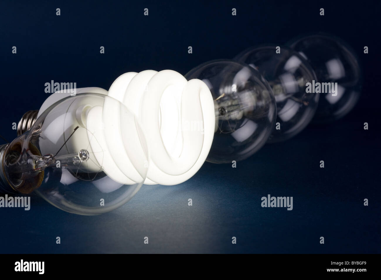 Compact Fluorescent Light bulb clsoe up - Stock Image