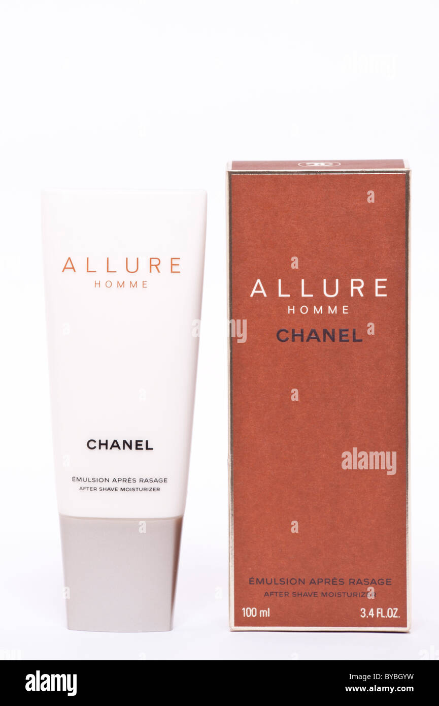 A tube of Chanel Allure after shave moisturizer lotion for men on a white background - Stock Image