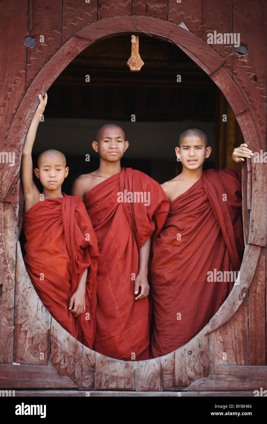 Burma,Birma,Myanmar, 20100223, novices in myanmar - Stock Image