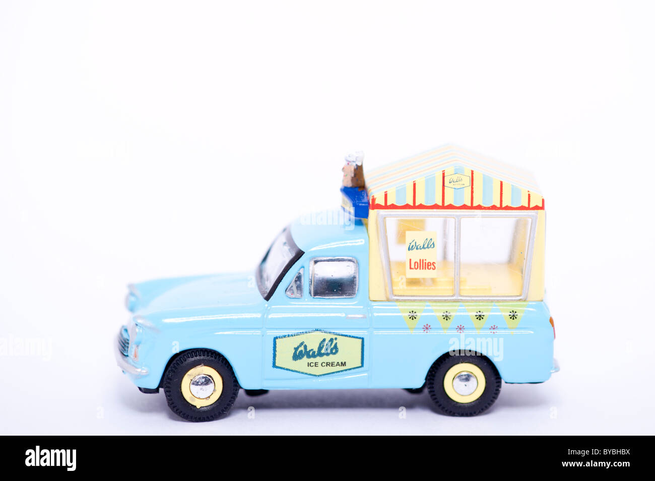 A toy model walls ice cream van on a white background - Stock Image