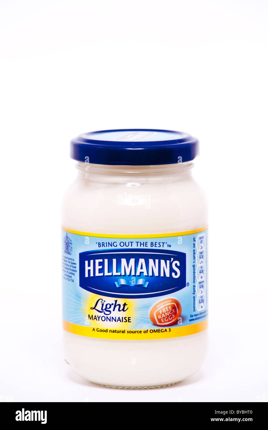 A jar of Hellmanns light mayonnaise on a white background - Stock Image