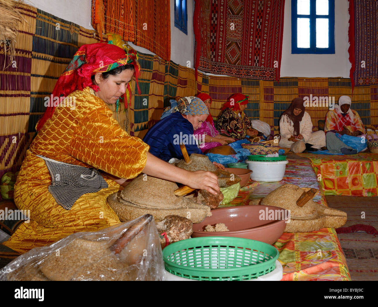 Moroccan womens cooperative at Afous Argane making argan oil by hand in a production line Morocco - Stock Image