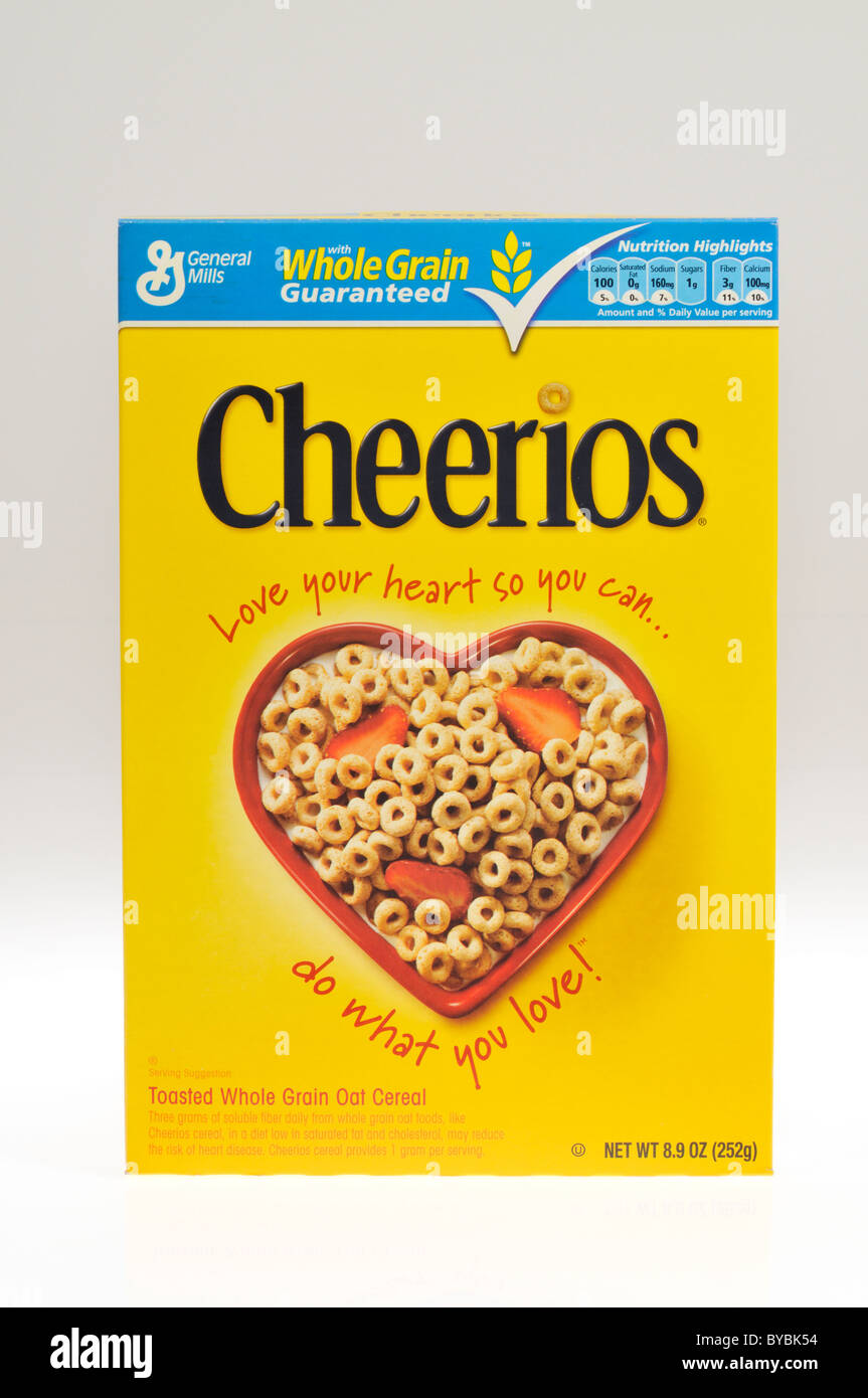 A box of General Mills Cheerios breakfast cereal on white background cutout - Stock Image