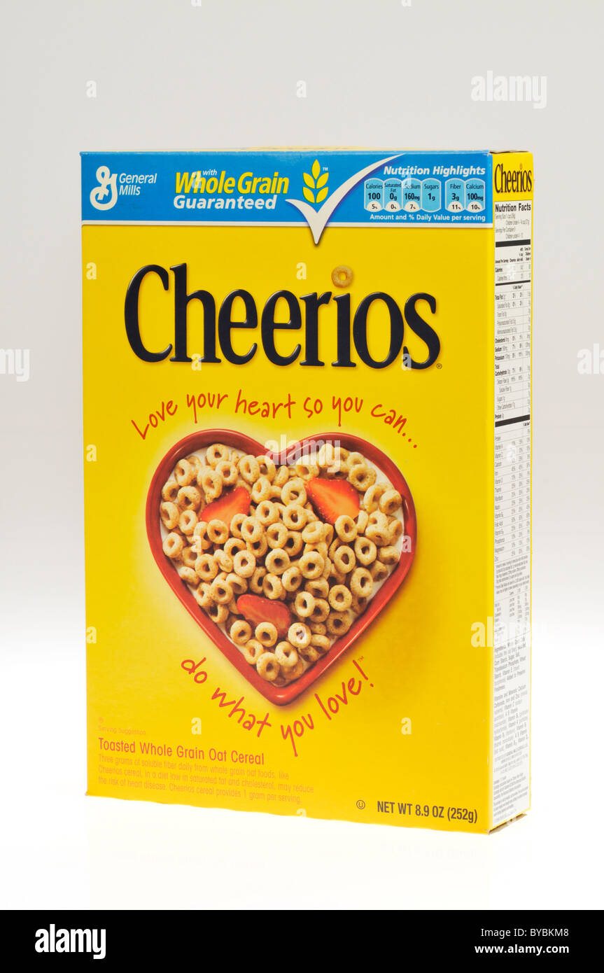 A box of General Mills Cheerios breakfast cereal on white background, cutout. - Stock Image