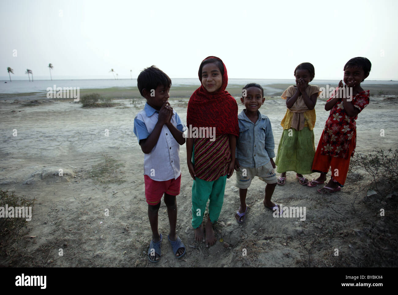 laughing kids at the beach in South Bangladesh - Stock Image