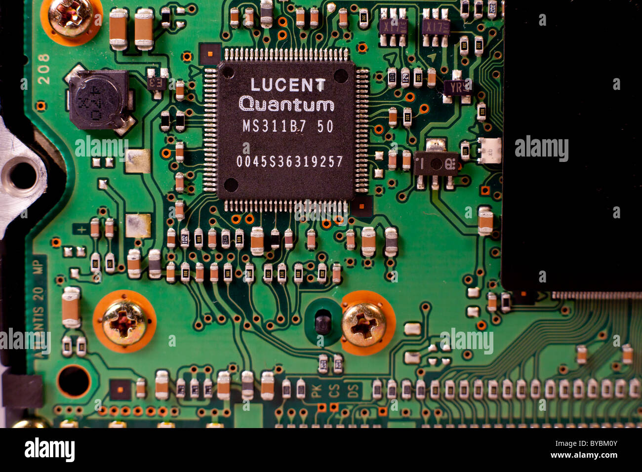 A UDMA hard drive circuit board with a Lucent microchip - Stock Image