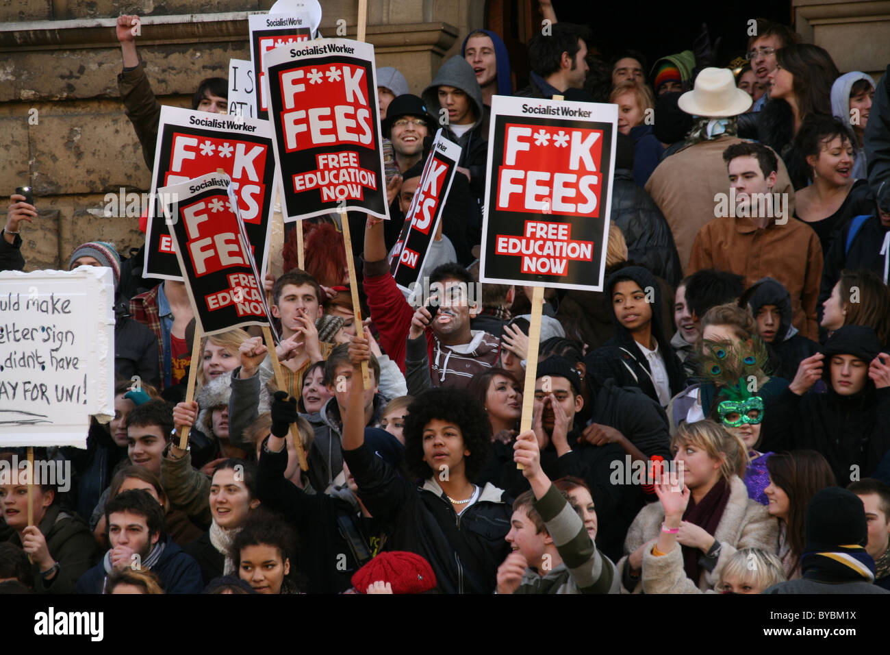 Oxford student protesting the increase in tuition fees - Stock Image