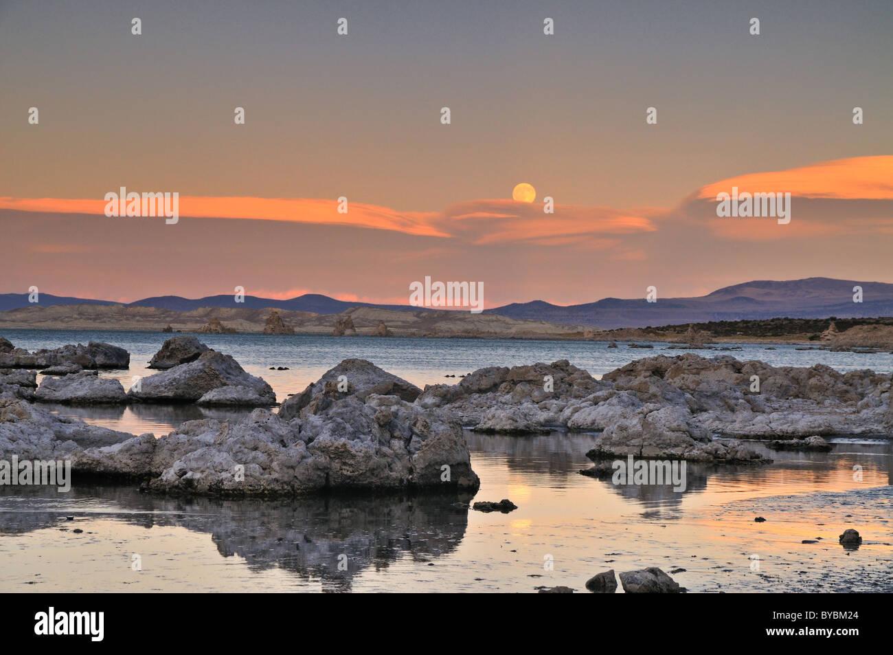 Moonrise on Mono Lake - Stock Image