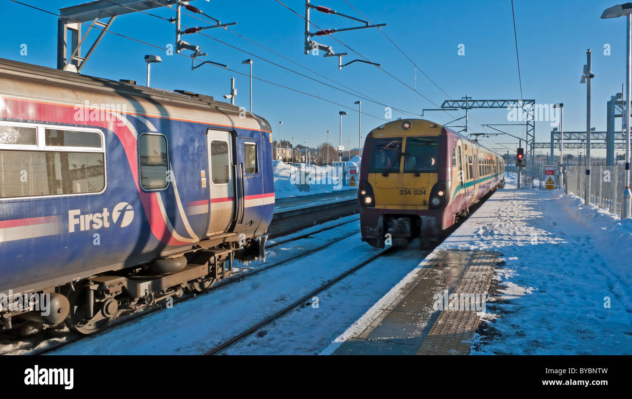 A First Scotrail operated Class 334 electric multiple unit (EMU) arriving at Bathgate's new station to take - Stock Image