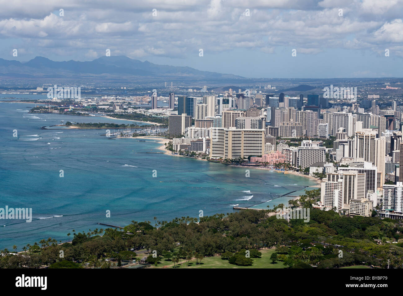 Honolulu and Waikiki Beach. Cityscape of Honolulu with Waikiki and its famous beach in the foreground Stock Photo
