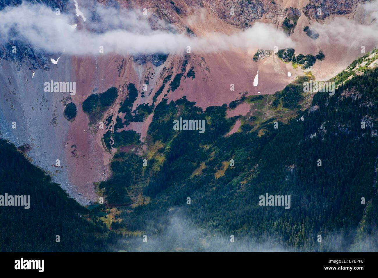 Detail view of the Northeast face of Azurite Peak, Washington Cascades, USA. - Stock Image