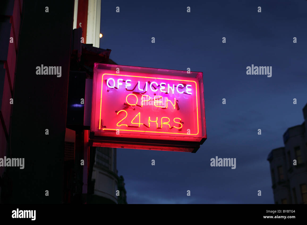 24 off licence sign Sussex - Stock Image