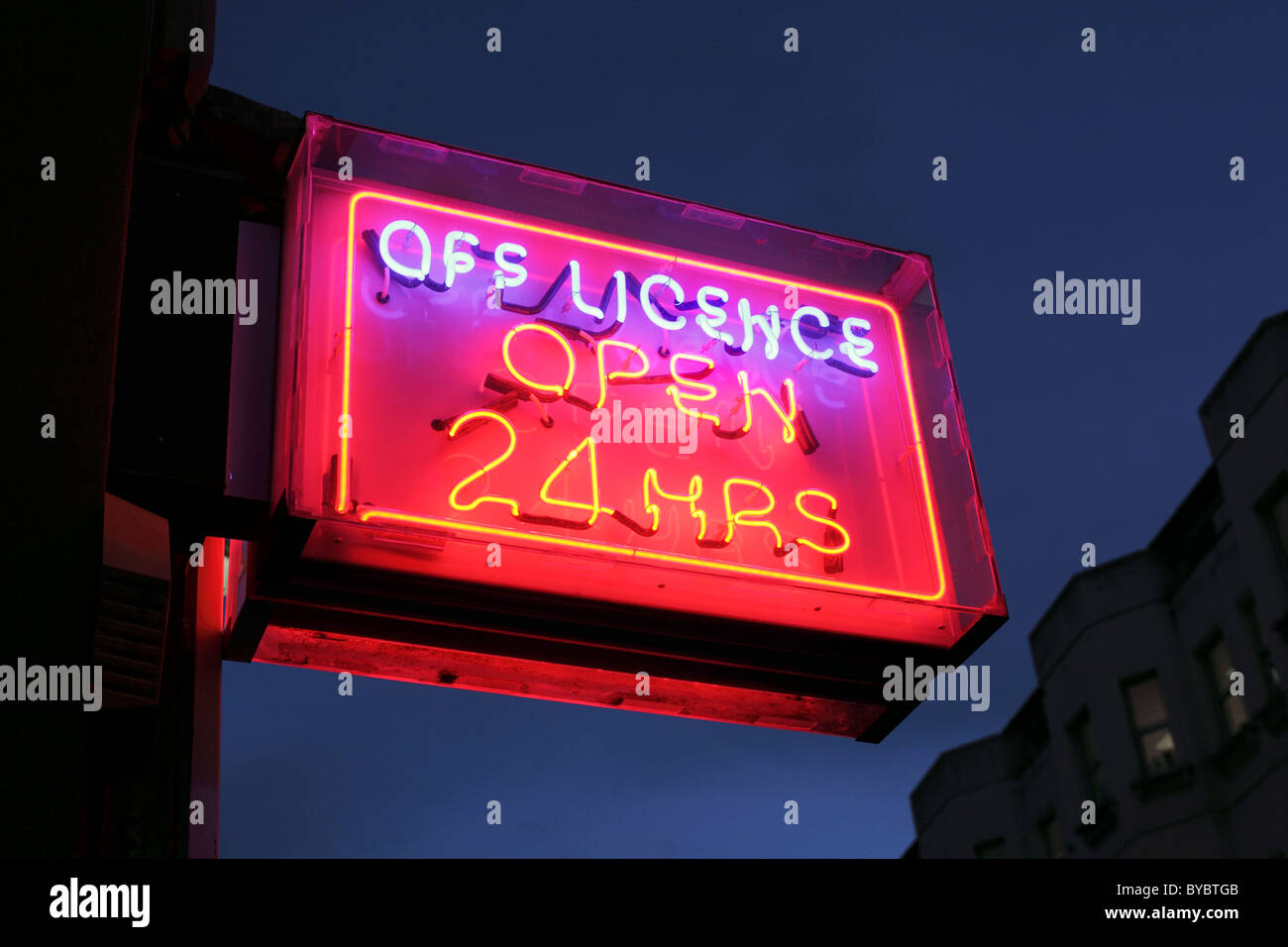 24 hour off licence sign, Sussex - Stock Image
