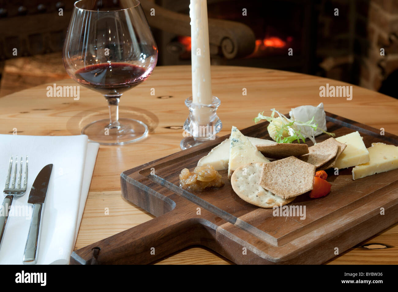 cheese board lunch port service fireside - Stock Image