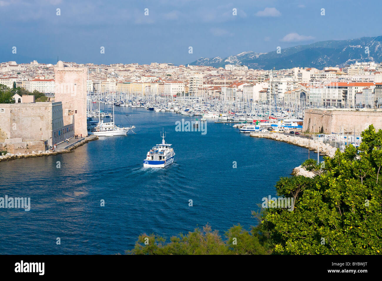 Panoramic view of Old Port of Marseille, France - Stock Image