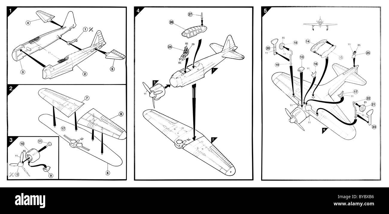 Airfix mitsubishi zero model plane instructions - Stock Image