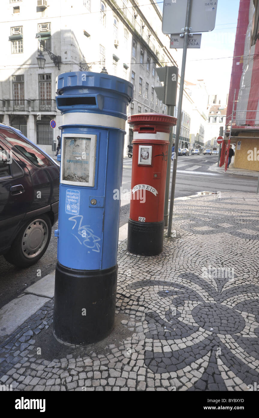 Local Post and International Post Boxes in Central Lisbon , Portugal - Stock Image