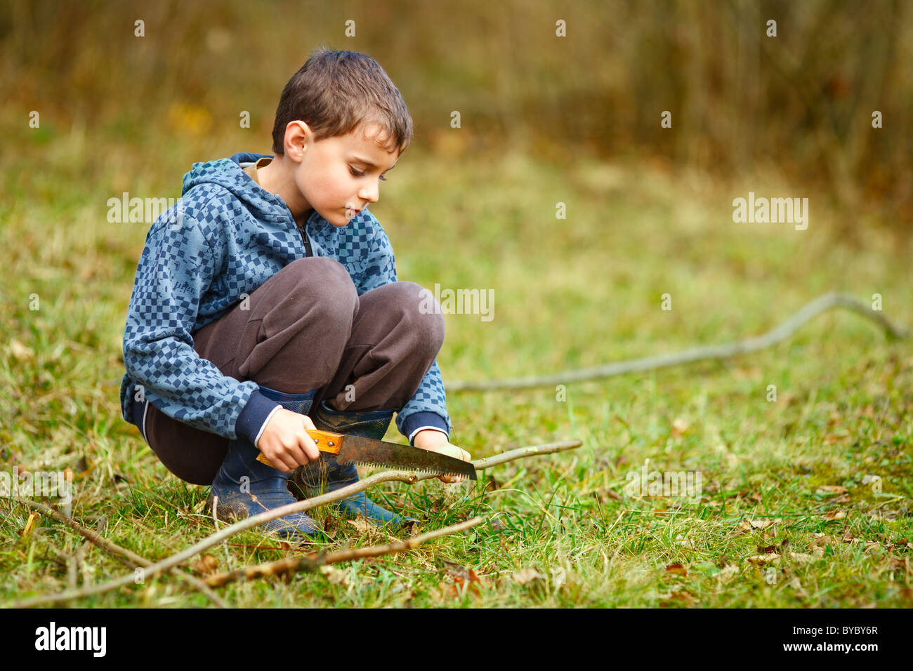 Cute kid cutting birch with a handsaw to make bow and arrows