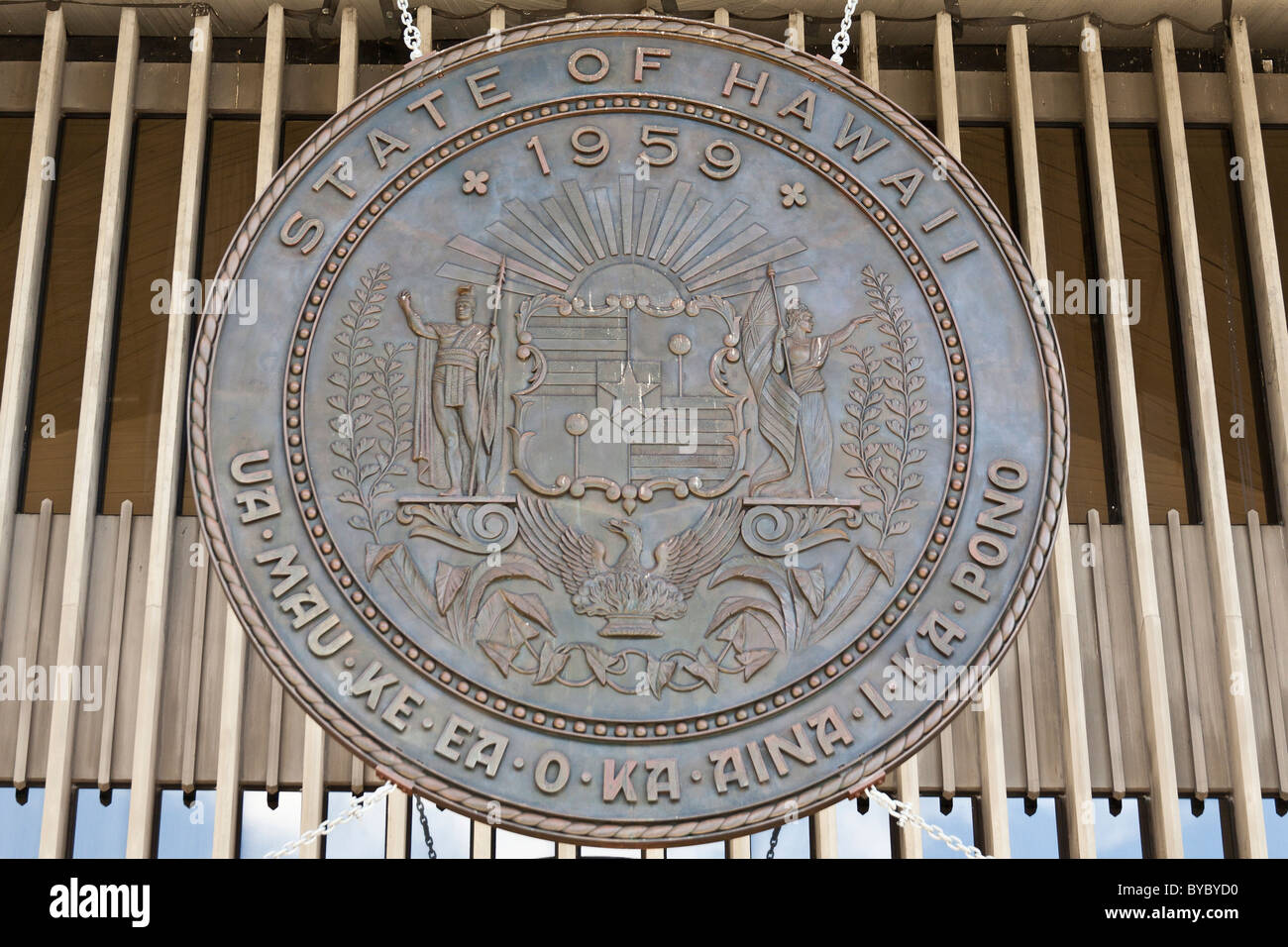 Seal of the State of Hawaii. The large bronze medallion that hangs from the state legislature building - Stock Image