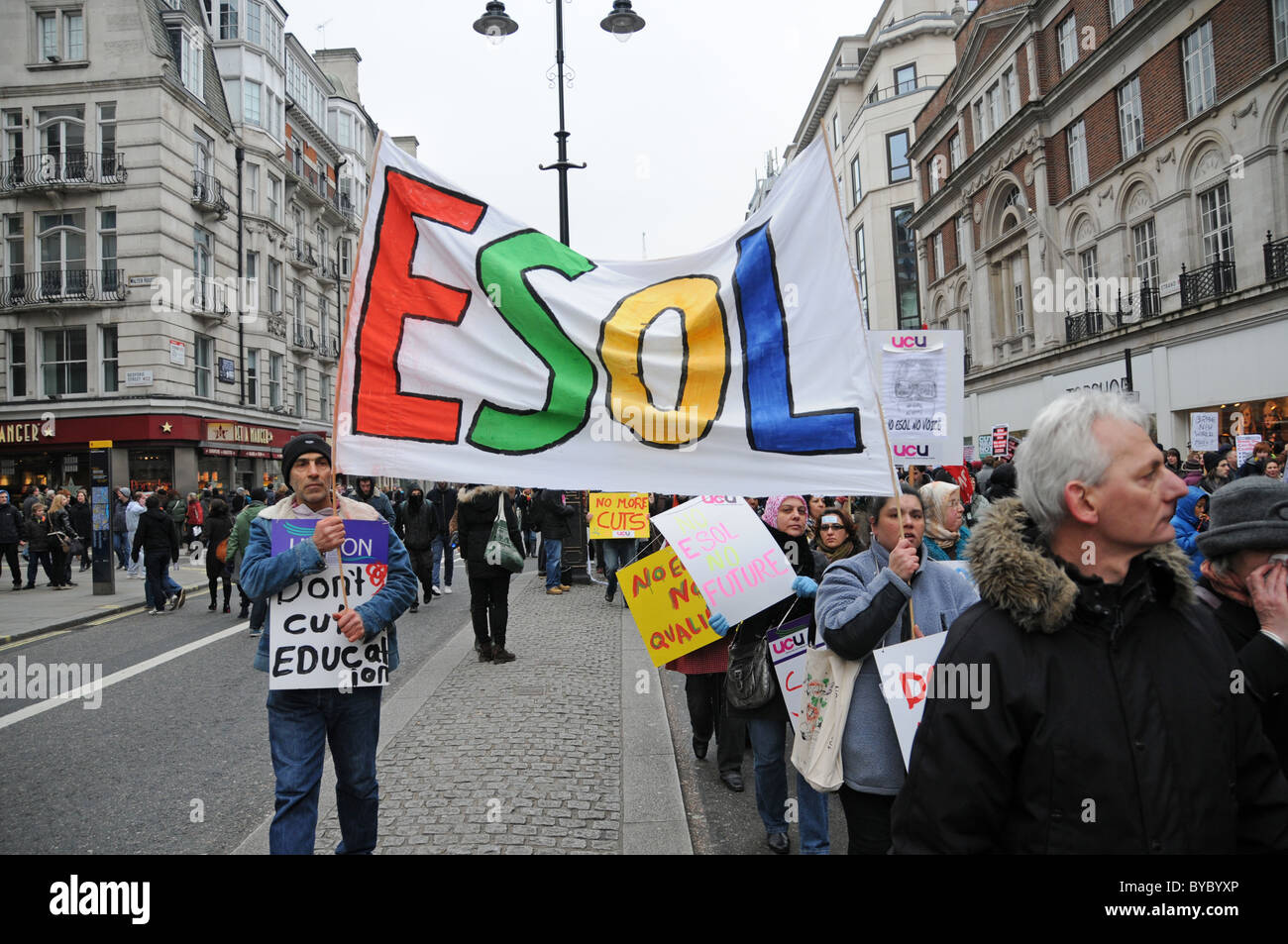 NUS TUC Student and Union protest against tuition fees and job losses - Stock Image