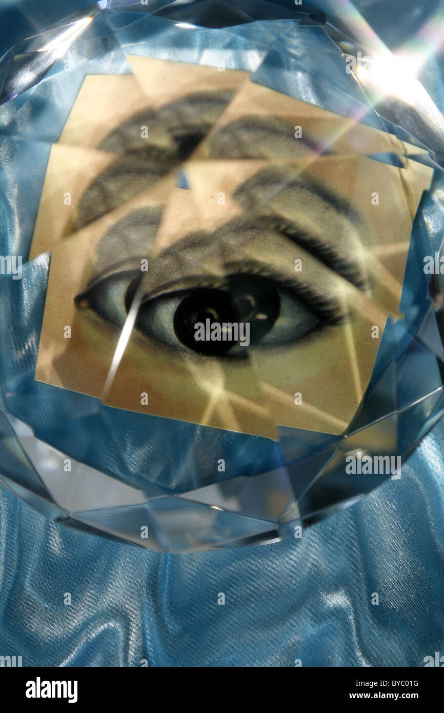 distorted eye, faceted eye - Stock Image
