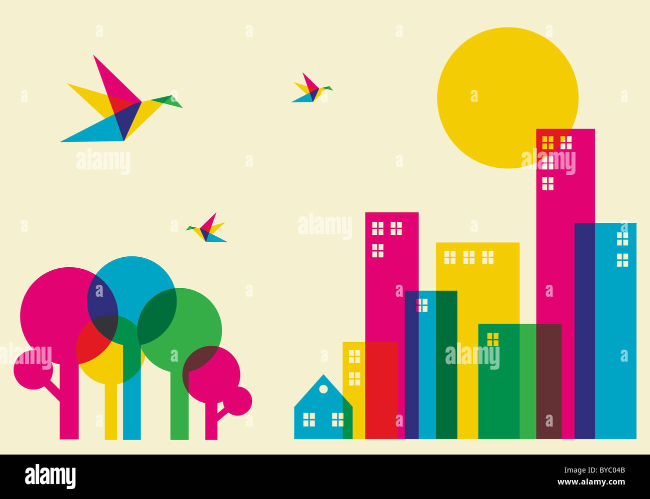 Spring time in the city. Full color humming birds flying over the forest and city. Vector file available. - Stock Image