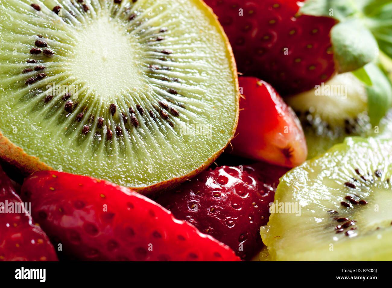 Kiwi with Strawberries - Stock Image