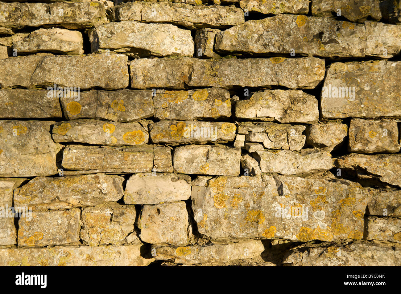A dry stone wall built with Cotswold stone, Newbold-on-Stour, Warwickshire, England, UK Stock Photo