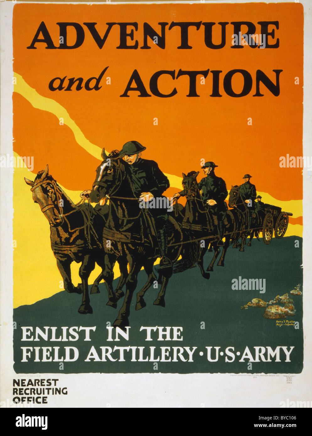 U.S. Army recruiting poster showing a soldiers on horseback with team of horses pulling artillery.1919 - Stock Image