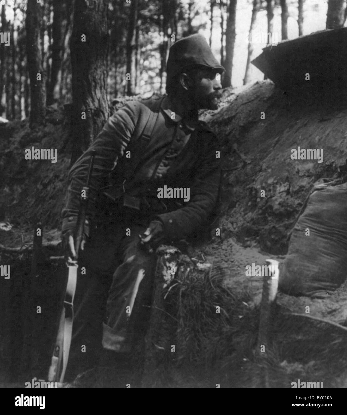 Day guard doing duty in the German trenches on the Eastern Front 1916 - Stock Image