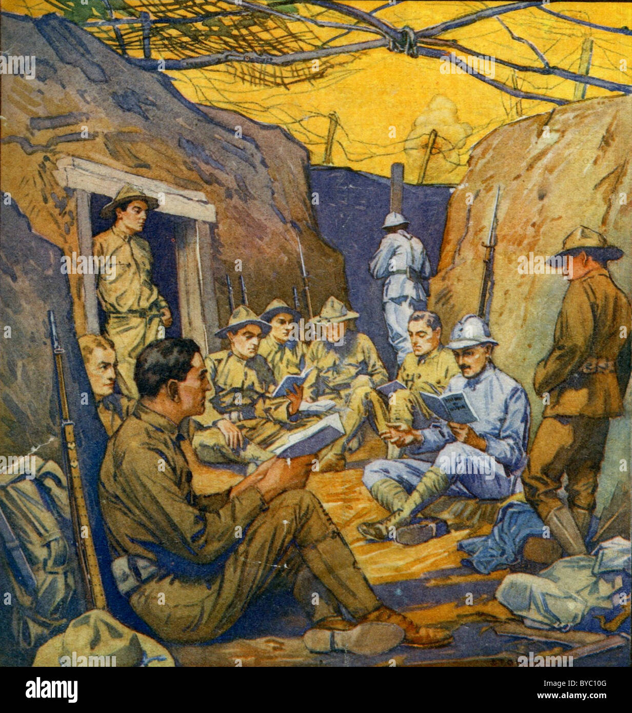 'Studying French in the Trenches.' Cover, The Literary Digest, October 20, 1917 - Stock Image
