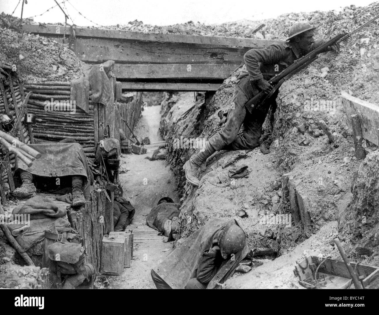 A British trench near the Albert-Bapaume road at Ovillers-la-Boisselle, July 1916 during the Battle of the Somme. Stock Photo