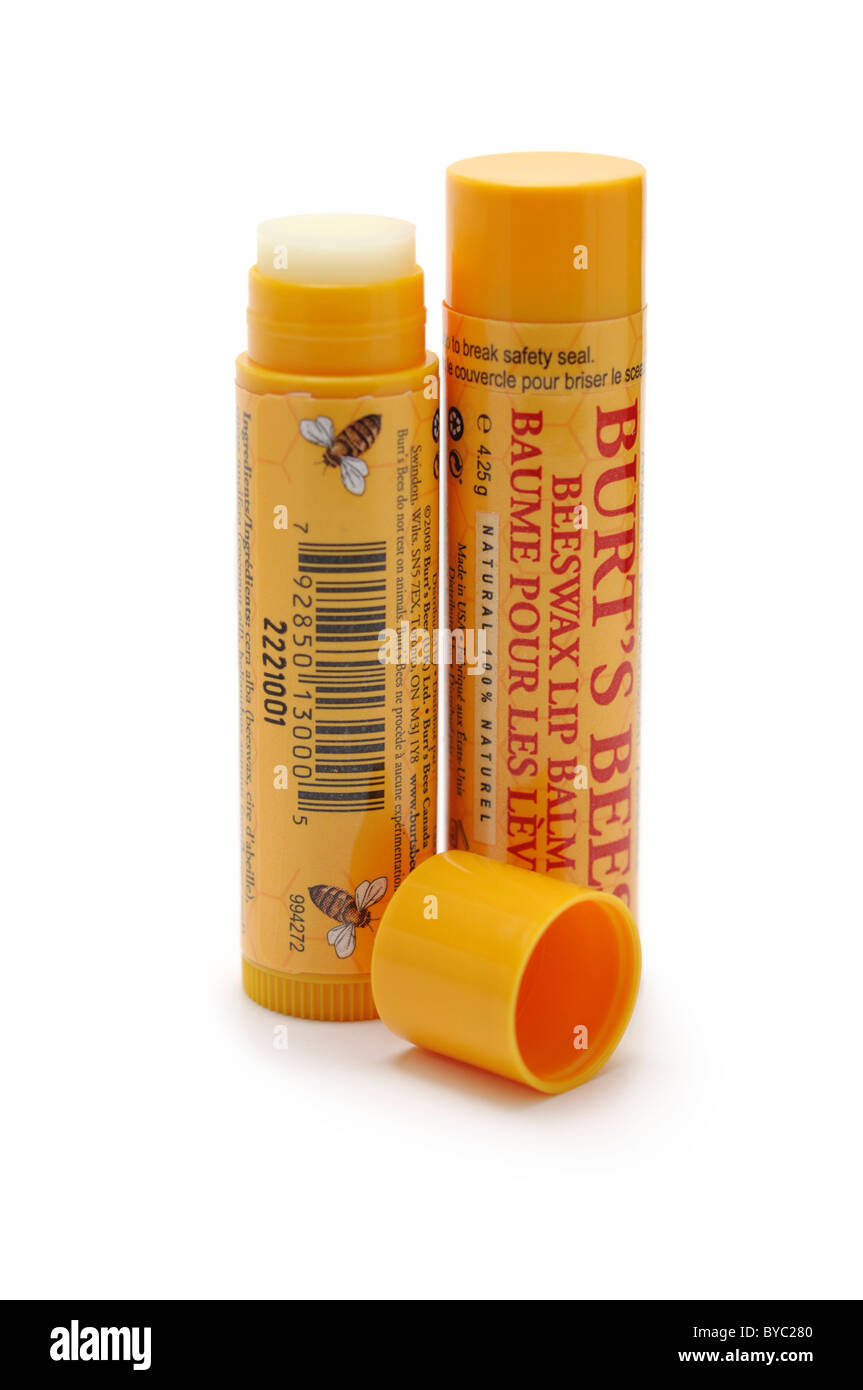 Lip Balm - All natural Beeswax - Stock Image