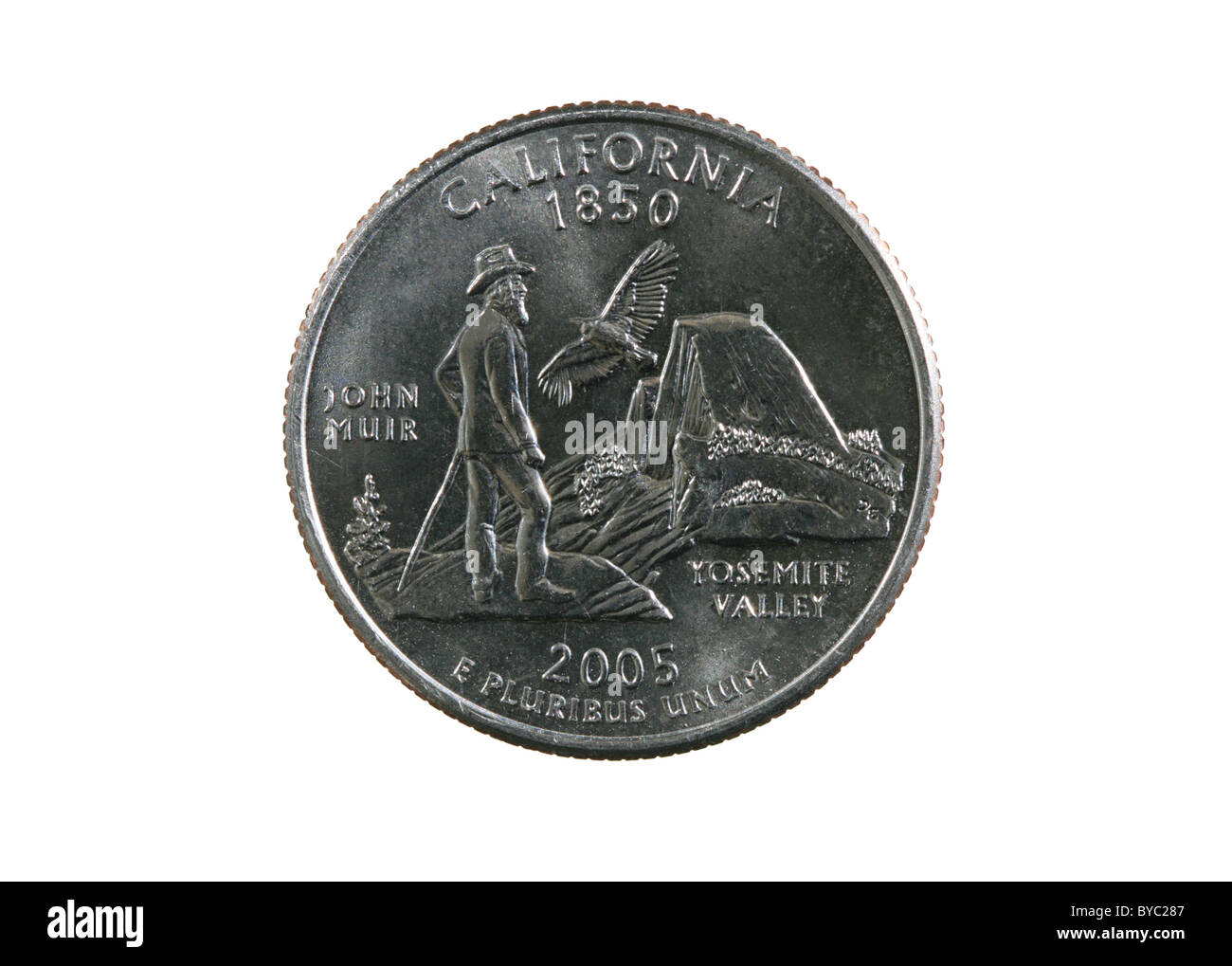 California state quarter coin isolated on white background - Stock Image