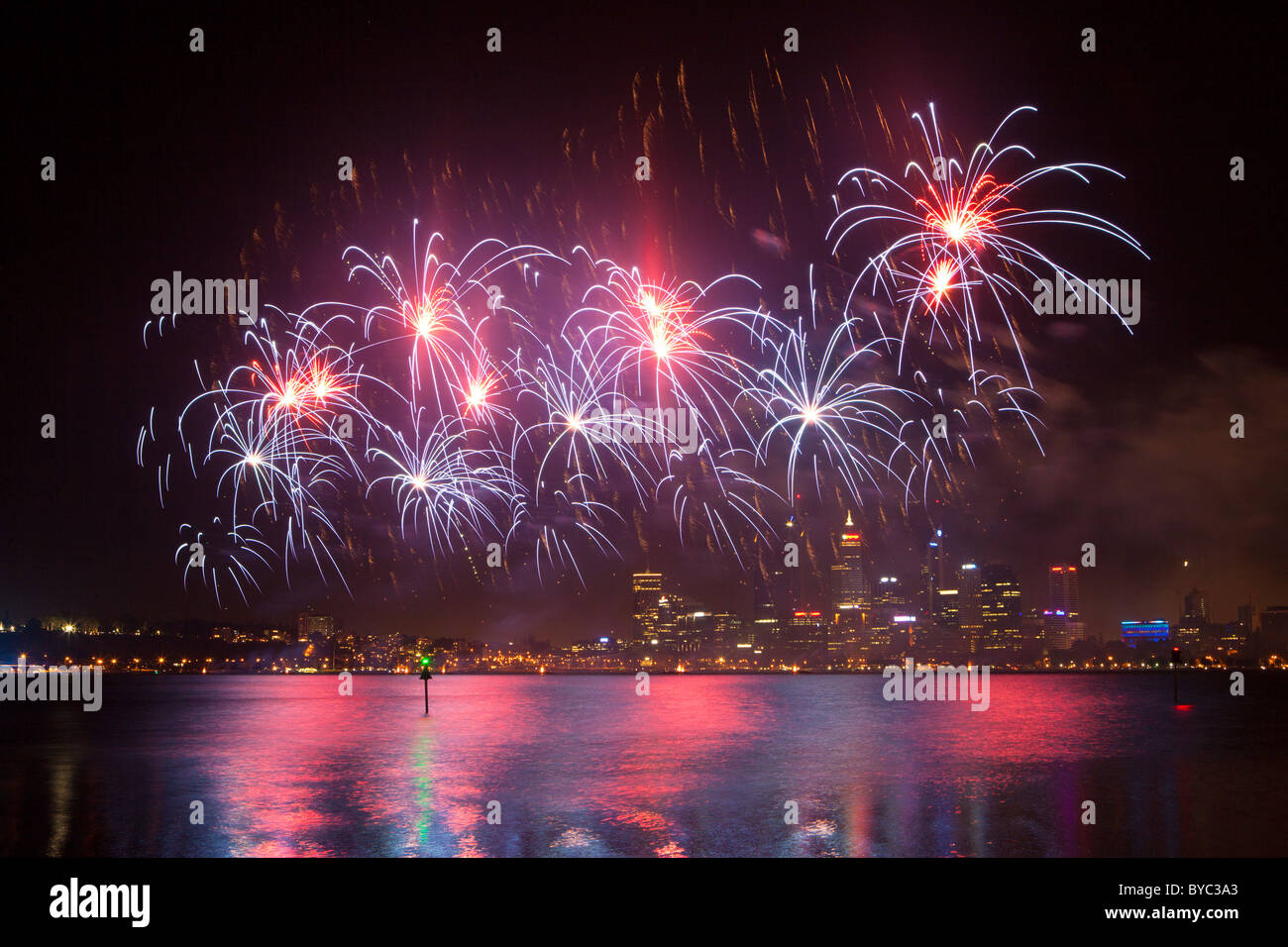 Skyworks Australia Day fireworks over the Swan River - Stock Image