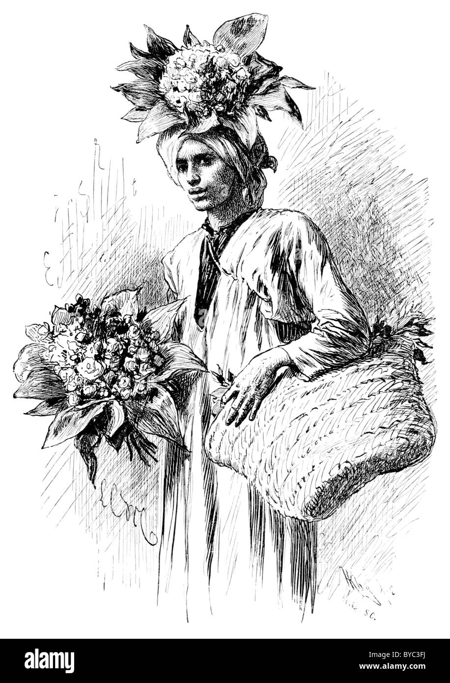Gardener's Boy, an 1878 engraving of a boy in egypt selling flowers from a basket. - Stock Image