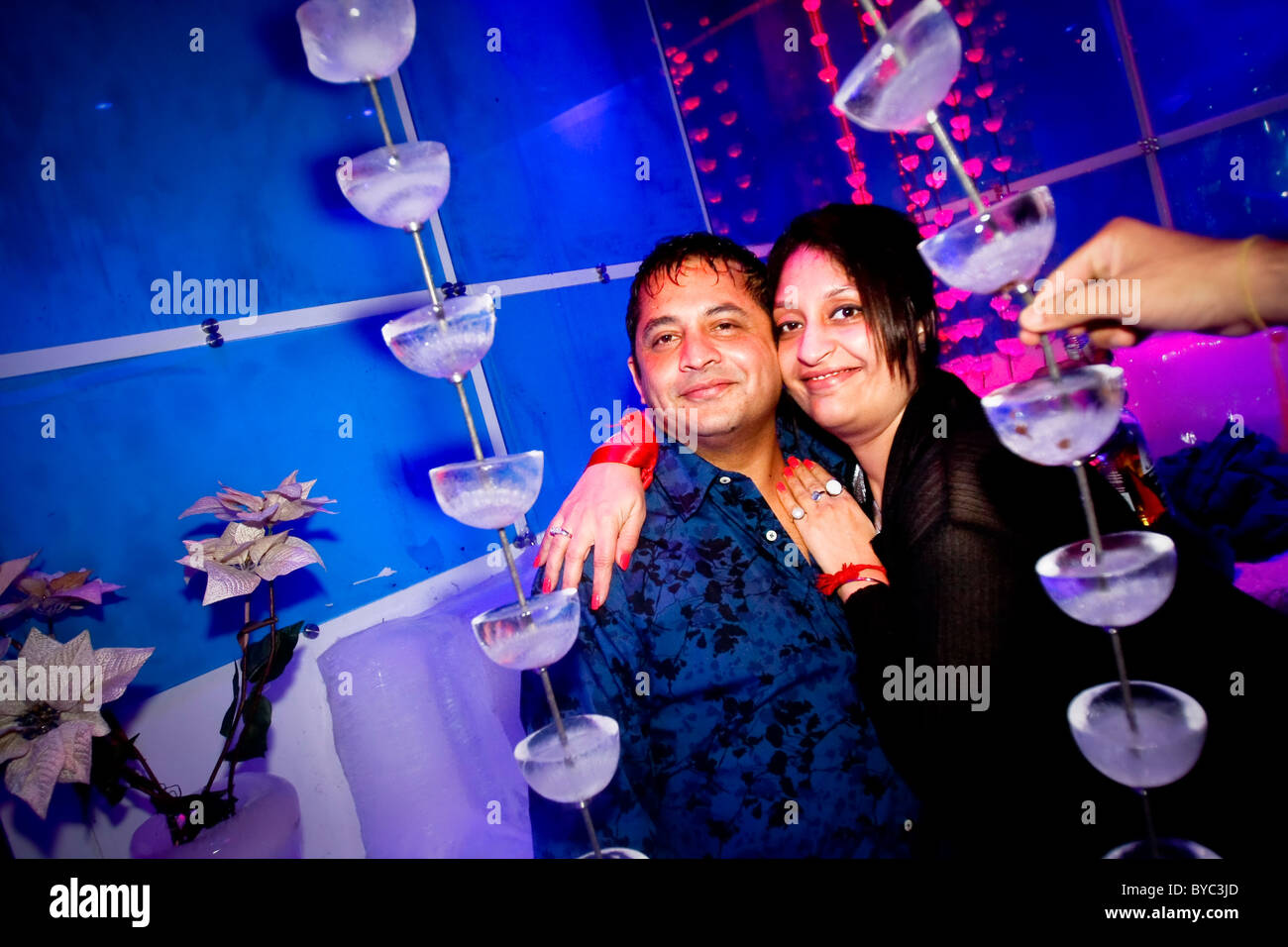 Guests at the nightclub 21 Fahrenheit, India's first ice bar, in Mumbai (Bombay) in India - Stock Image