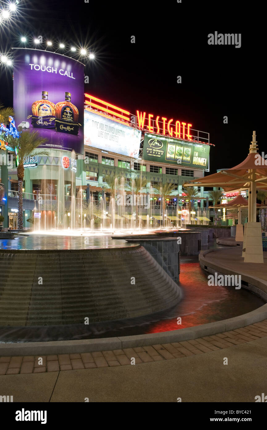 The central court(night) fountains and large sign at Westgate Center, University of Phoenix Stadium, Glendale, Phoenix, - Stock Image