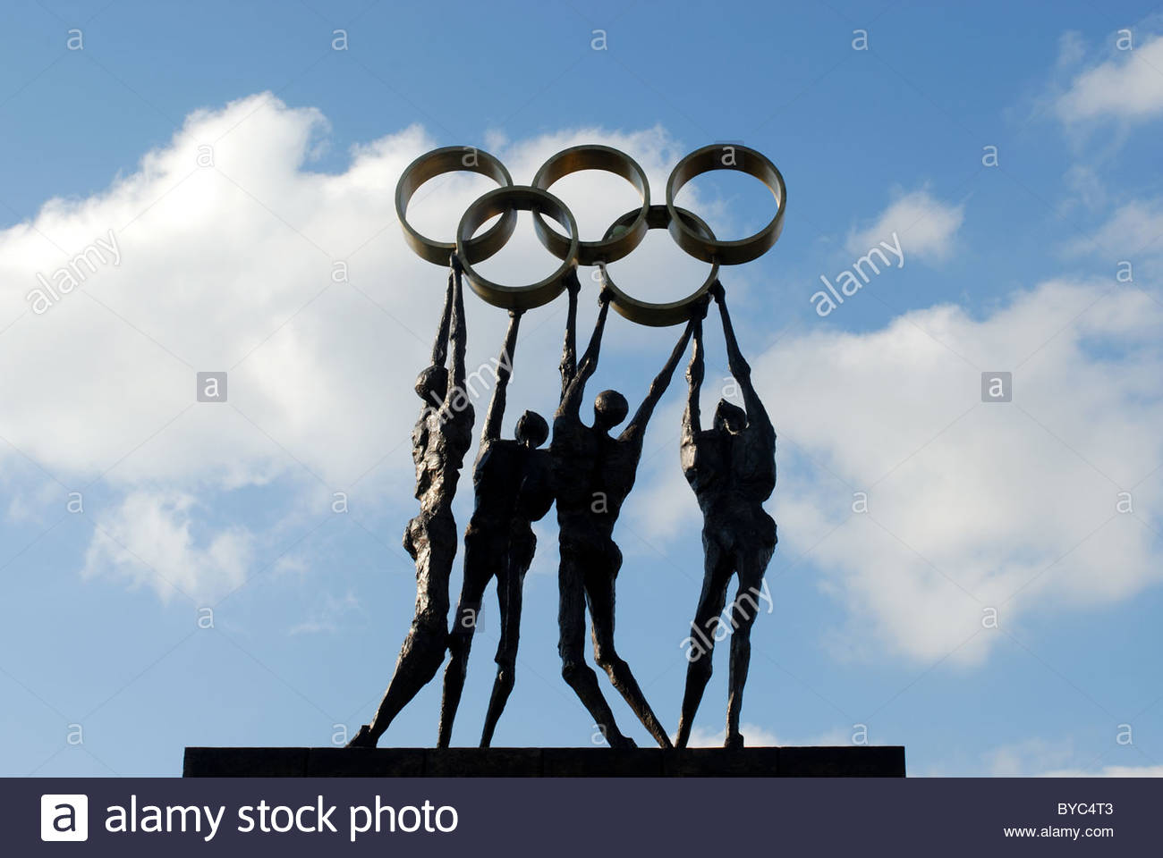 General - Olympic presence in Lausanne Switzerland. Statue in front of the IOC buildings in Vidy. - Stock Image