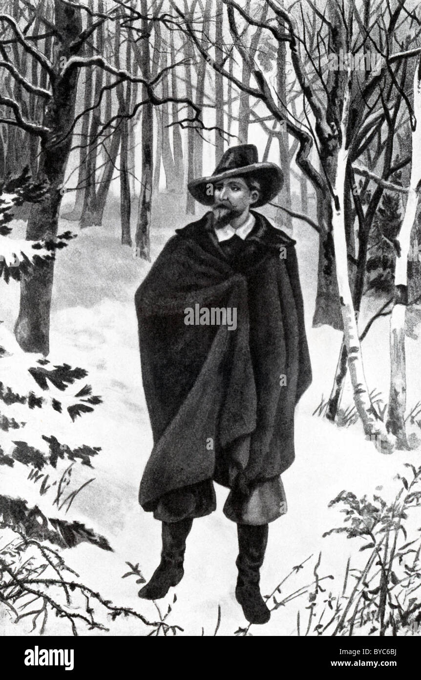 While ill, Roger Wiiliams fled, through deep snow (pictured here), from Salem to the head of Narragansett Bay (105 - Stock Image
