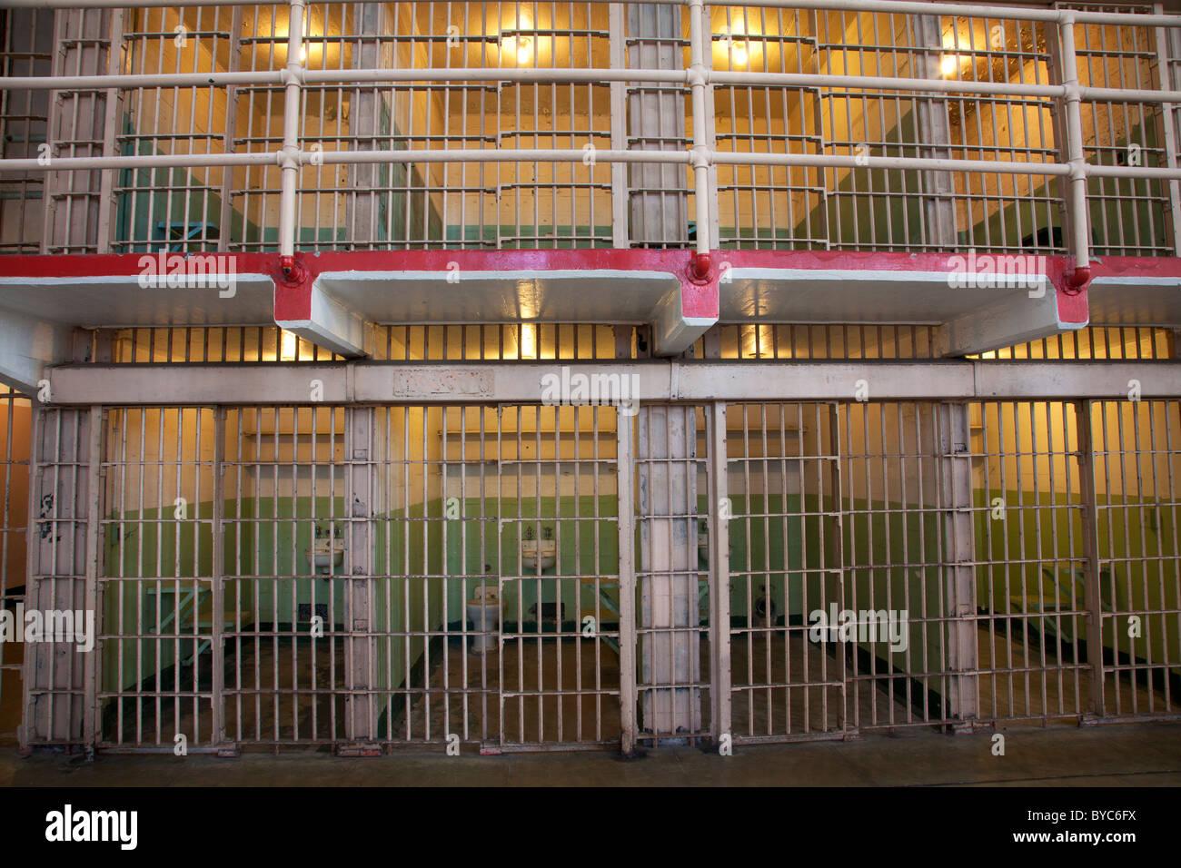 Inside cell house at Alcatraz, San Francisco, CA - Stock Image