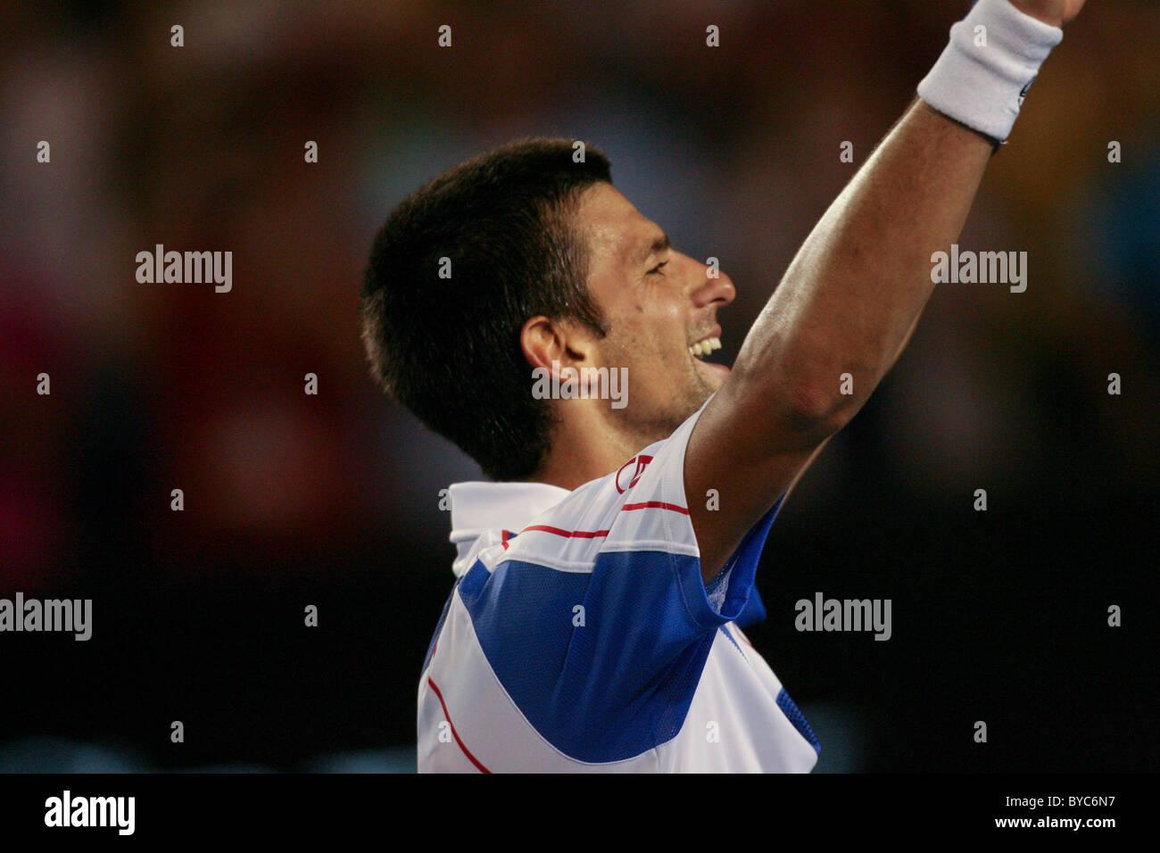 Novak Djokovic, winner of the  Mens Singles Final of the Australian Open Tennis in Melbourne, January 30, 2011 - Stock Image