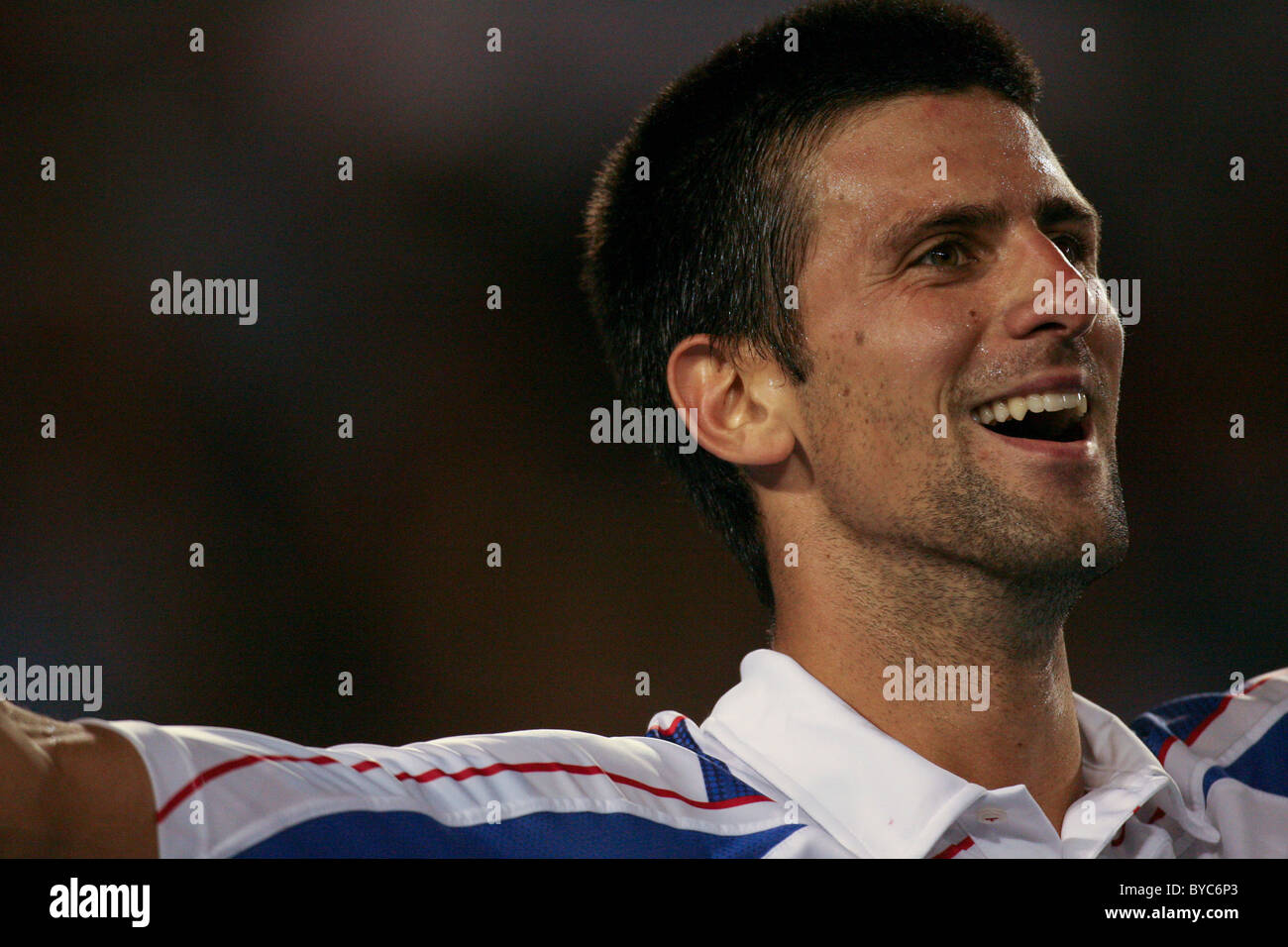 Novak Djokovic, winner of the  Mens Singles Final of the Australian Open Tennis in Melbourne, January 30, 2011 - Stock Image